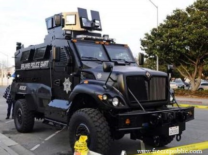 A City in California Rolls Out an Armored Death Machine Complete with Machine Gun Turret…