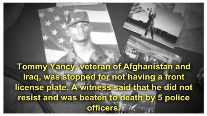 Combat Vet Beaten To Death by Five Cops In Routine Traffic Stop For No Front License Plate