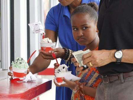 Sasha Obama, the daughter of U.S. President Barack Obama eats ice cream in Florida