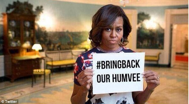 ISIS mocks Michelle Obama with cruel photoshop of her famous tweet in support of girls kidnapped by Nigerian terrorists: #BRINGBACKOURHUMVEE