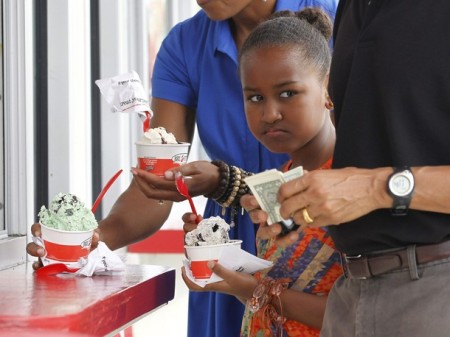 Sasha Obama, the daughter of U.S. President Barack Obama eats ice cream in Florida
