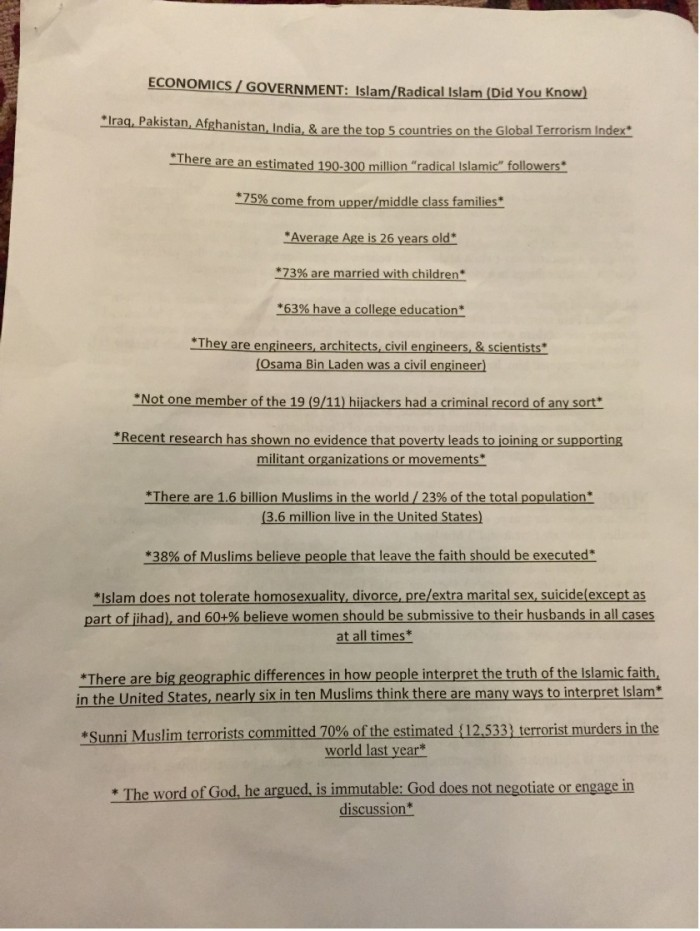 [Watch] High School Teacher Under Attack By Muslim Group CAIR For Distributing Factual Flyer About 'Radial Islam'