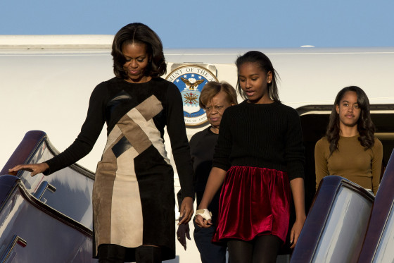 Michelle Obama, Mother Marion, Malia and Sasha Visiting London, Milan and Vicenza Italy