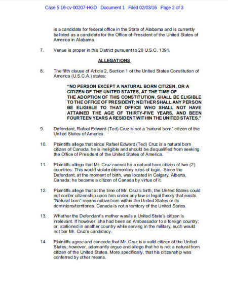 Read page two of the Federal Lawsuit Documents filed in Alabama Court on February 3rd, 2016 against Senator Ted Cruz alleging his Ineligibility to run for POTUS