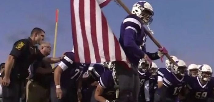 Patriotism: High School Football Players Honor Firefighters, Police and Sheriff Officers (Video)