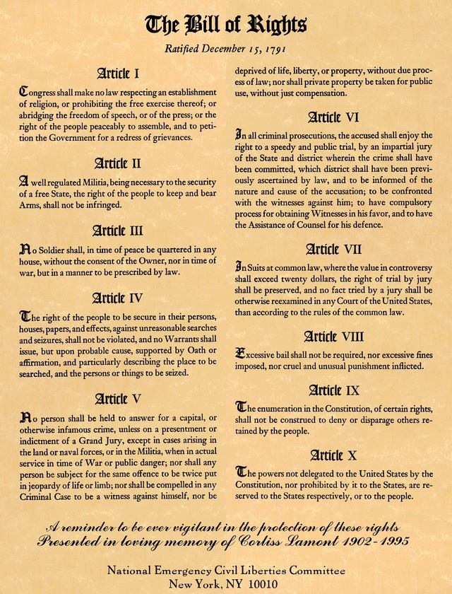 The Bill of Rights…