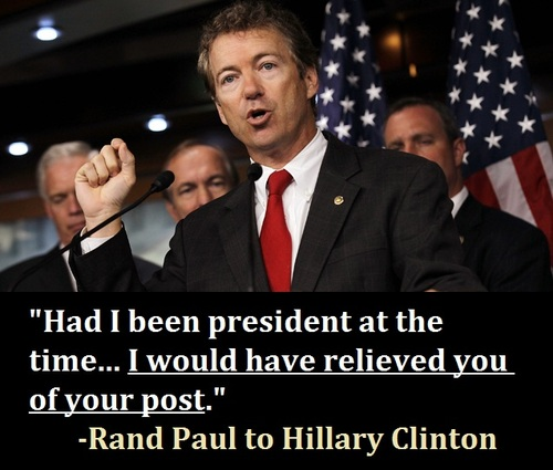 RAND PAUL WANTS HILLARY CLINTON SUBPOENAED TO TESTIFY ON BENGHAZI