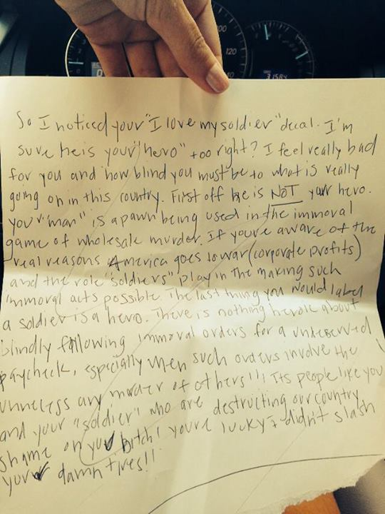 Military Fiancé Finds Threatening Hate-Filled Letter On Her Windshield