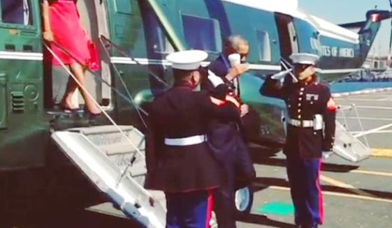 WATCH: Obama's Disrespectful Cup Salute Sparks Anger By Saluting US Marines With Drink In Hand