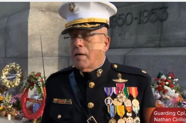 WATCH: IN SPITE OF DEATH THREATS FROM MUSLIMS RETIRED US MARINE STANDS GUARD AT WAR MEMORIAL