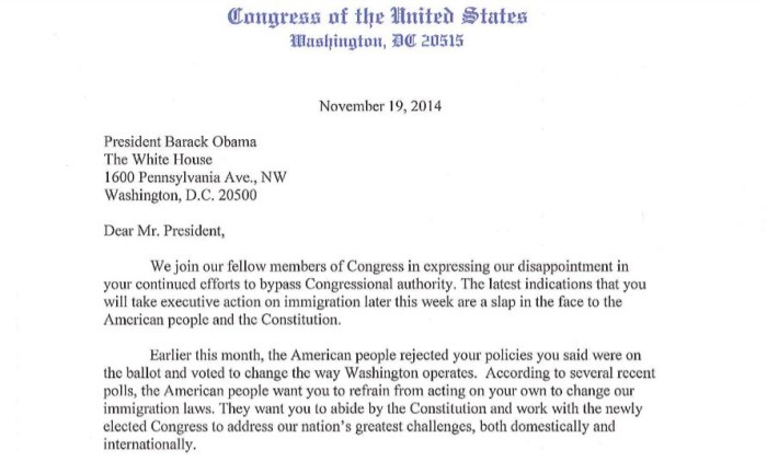 SEE LETTER FROM CONGRESS TELLING OBAMA TO HALT EXECUTIVE ORDERS ON IMMIGRATION