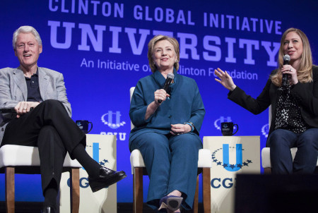 Bill, Hillary and Chelsea Clinton, discuss Clinton Global Initiative University during closing plenary session on second day of 2014 Meeting of Clinton Global Initiative University at Arizona State University in Tempe