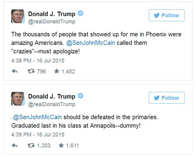 Donald Trump Rips John McCain And Calls Him A 'Dummy'