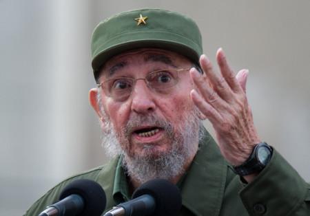 Former Cuban President Fidel Castro deli