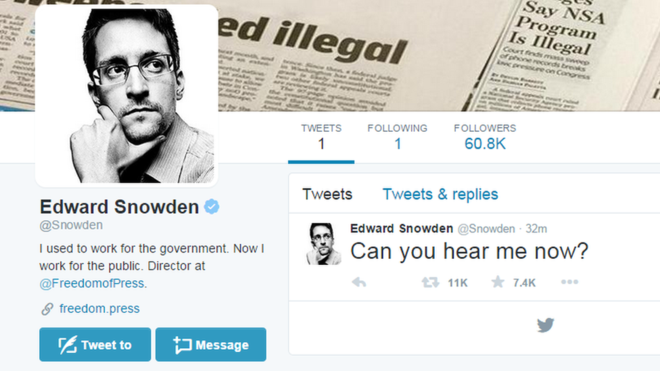 Edward Snowden Launches Twitter Account 'Can You Hear Me Now!'