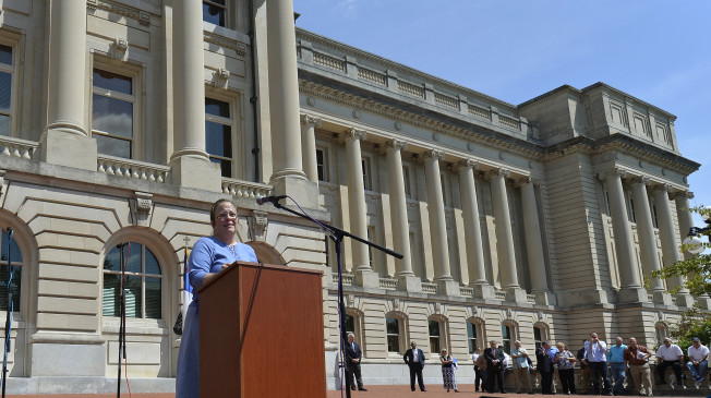 The Latest: Kentucky Clerk Invokes 'God's authority'
