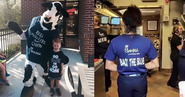 "Chick-fil-A Issues ""Back The Blue"" T-shirts To It's Employees To Help Support Our Law Enforcement Officers"