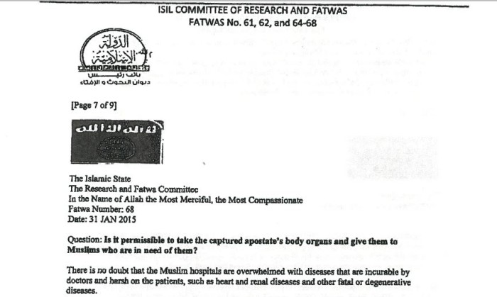 ISIS Sanctioned 'Infidel' Organ Harvesting In Document Taken In U.S. Raid