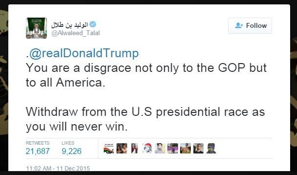 Billionaire Saudi Prince Sends Donald Trump STERN Message