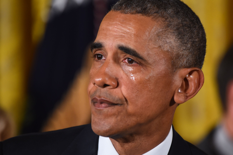 US President Barack Obama gets emotional as he delivers a statement on executive actions to reduce gun violence on January 5, 2016 at the White House in Washington, DC. AFP PHOTO/JIM WATSON / AFP / JIM WATSON        (Photo credit should read JIM WATSON/AFP/Getty Images)