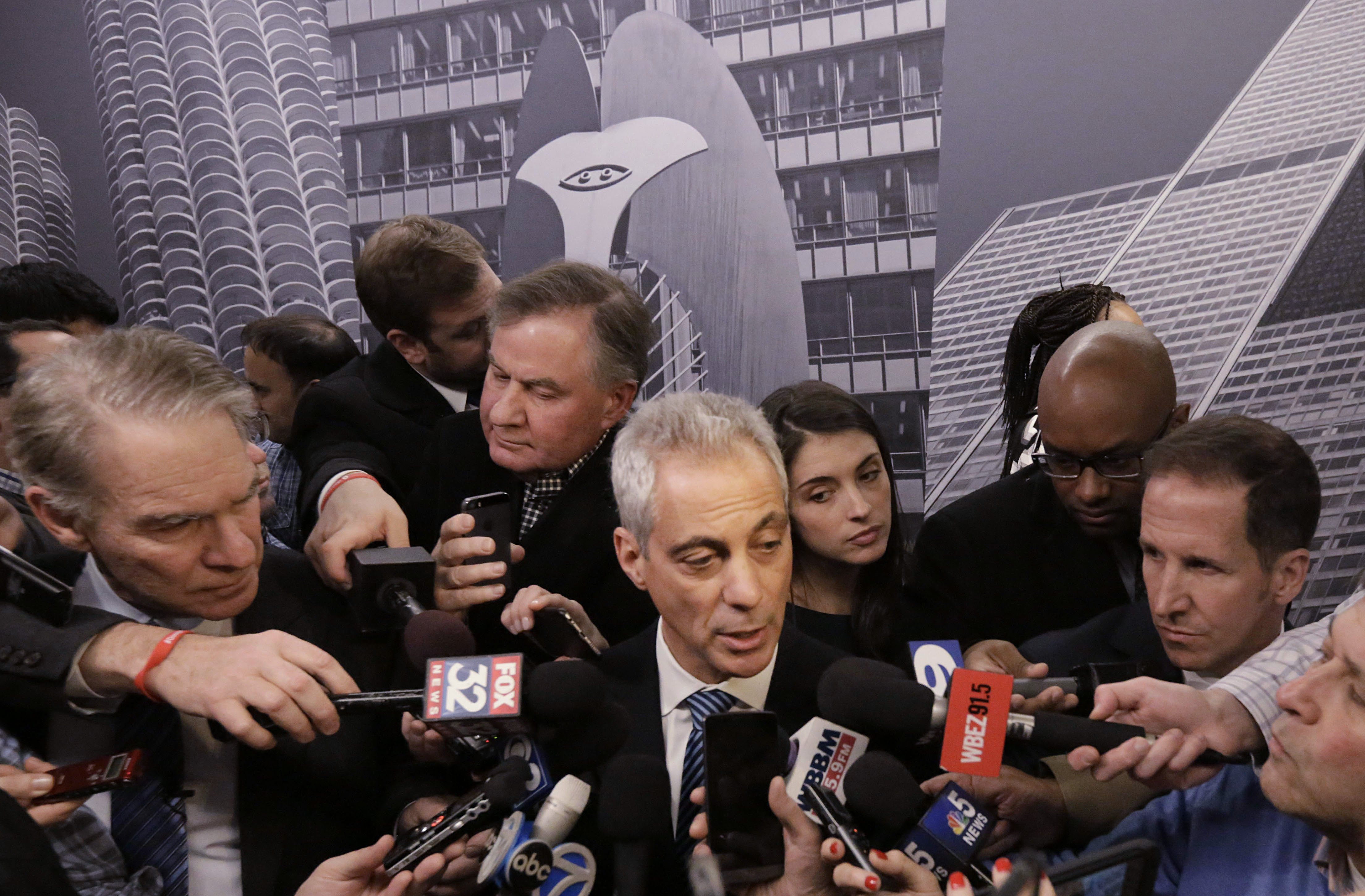 FILE - In this Dec. 3, 2015 file photo, Chicago Mayor Rahm Emanuel speaks to the media, in Chicago. Chicago officials released hundreds of emails Thursday Dec. 31, 2015 related to a video showing a white police officer shooting a black teenager 16 times that wasn't released until more than a year after the shooting. Mayor Emanuel and Chicago police have been under heavy scrutiny since the city, under court order, released a squad car video last month showing Officer Jason Van Dyke shooting 17-year-old Laquan McDonald in October 2014. (AP Photo/M. Spencer Green)