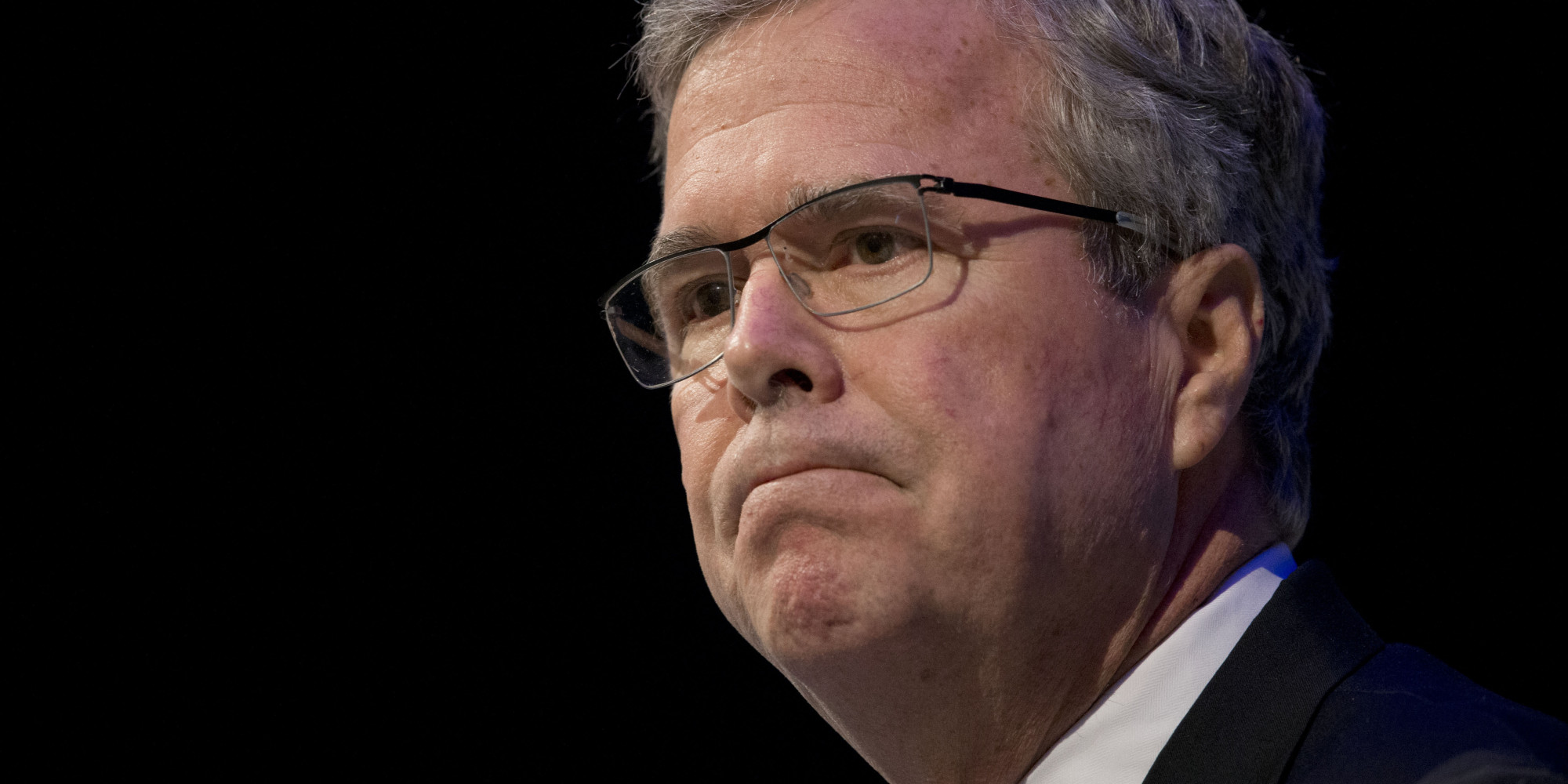 "Former Florida Gov. Jeb Bush pauses while speaking at a Economic Club of Detroit meeting in Detroit Wednesday, Feb. 4, 2015. The Detroit event is the first in a series of stops that Bush's team is calling his ""Right to Rise"" tour. That's also the name of the political action committee he formed in December 2014 to allow him to explore a presidential run. (AP Photo/Paul Sancya)"