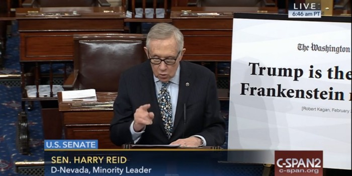 "WATCH Harry Reid To Senate: ""It's Time For Republicans To Stop 'Frankenstein' Donald Trump"""