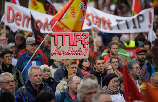 Thousands Protest Trade Deal In Germany Before Obama Visit