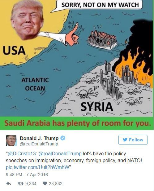 Trump: Syrian Refugees Should Go To Saudi Arabia Not The US