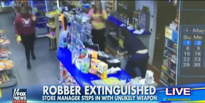 Gas Station Manager Beats Down Robber With Fire Extinguisher (Video)
