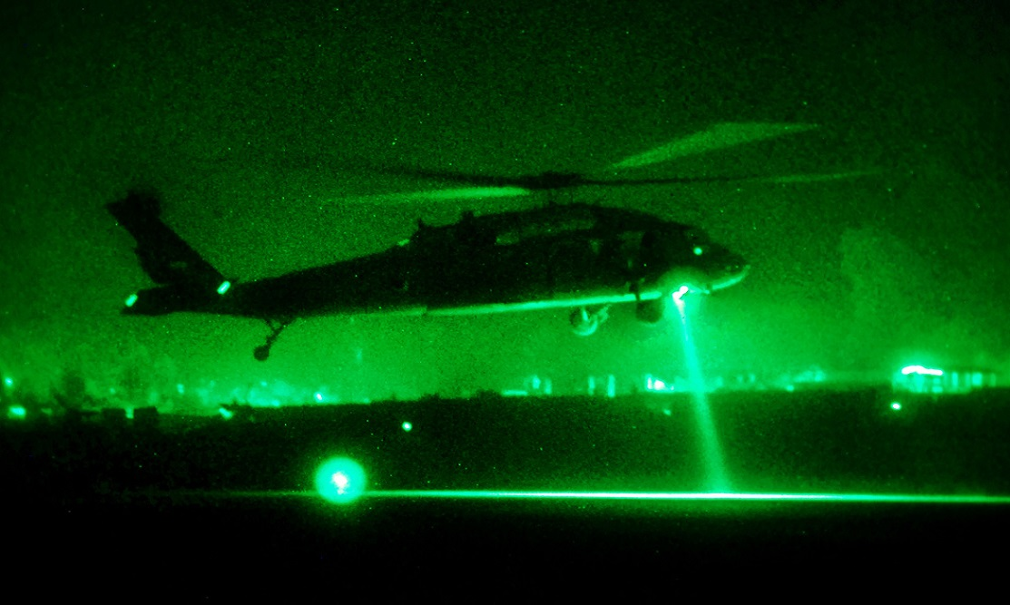 A UH-60L Black Hawk helicopter from 1st Battalion (Attack), 10th Combat Aviation Brigade, departs Forward Operating Base Fenty, in Nangarhar province, Afghanistan, on a personnel movement mission, Oct. 3, 2013.