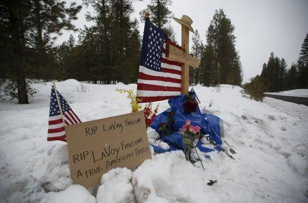 "A memorial for Robert ""LaVoy"" Finicum is seen where he was shot and killed by law enforcement on a highway north of Burns, Oregon January 30, 2016. REUTERS/Jim Urquhart"