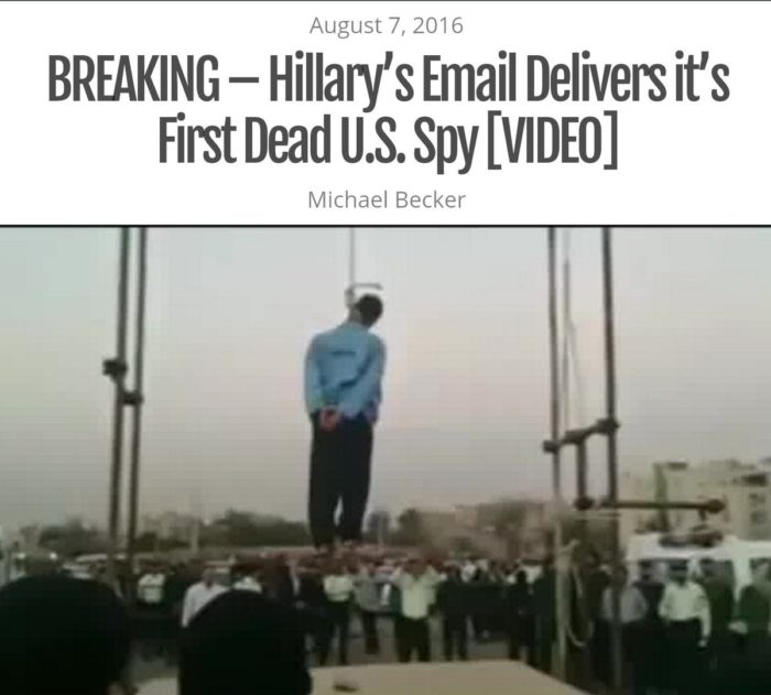 BREAKING – Hillary's Email Delivers It's First Dead U.S. Spy [VIDEO]