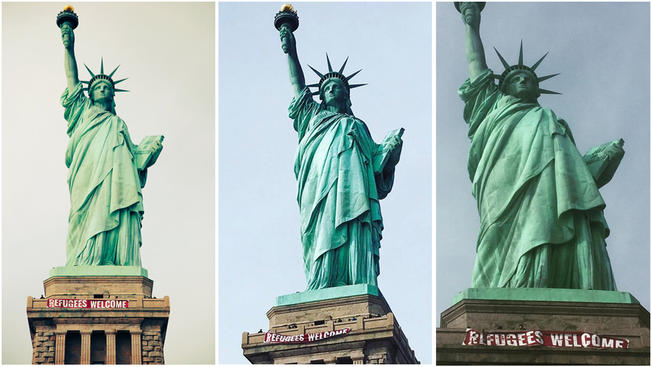 'Refugees Welcome' Banner Unfurled At Statue Of Liberty