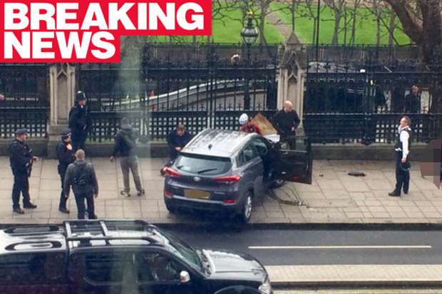 Parliament Attacked! – House Of Commons Suspended 2 Men Shot Knifeman Rams Car Into Crowd (Video)