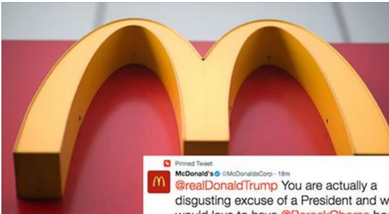 "McDonald's Just Called President Trump ""A Disgusting Excuse Of A President"" On Twitter"
