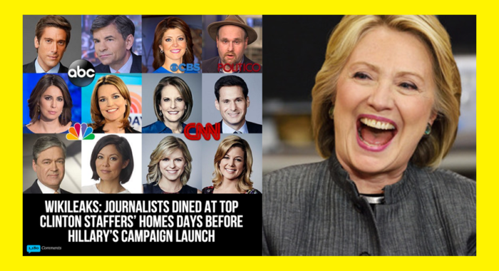 "Wikileaks: Here Are The 65 Reporters That Went To Clinton Campaign Chairman's House For ""Private"" Dinners"