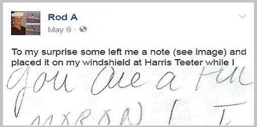 North Carolina Navy Vet Finds Angry Note After Parking In Veteran-Designated Space