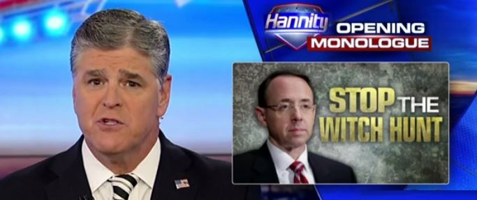 "Hannity BLASTS Rosenstein Over Mueller's 'Corrupt' Witch Hunt And ""MASSIVE Conflicts Of Interest"" (Video)"