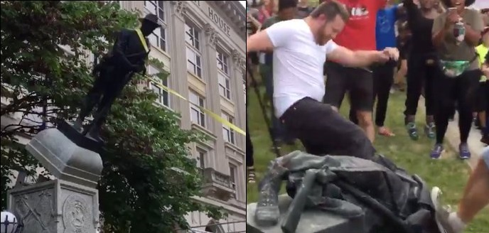 Police Stand And WATCH As Mob Toppled Confederate Statue In North Carolina (Video)