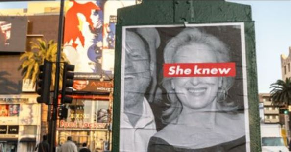 Meryl Streep Posters Claiming 'SHE KNEW' About Weinstein Pop Up All Over Los Angeles (Video)