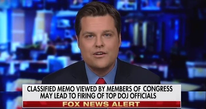 Rep. Matt Gaetz: 'I Believe There Are People Who Will Go to Jail' Over Intel Memo (Video)