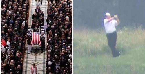 Twitter Erupts Over President Trump Golfing During John McCain's Funeral