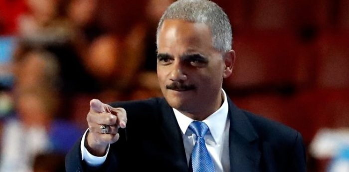 """Eric Holder Urges Violence Against Conservatives: """"When They Go Low, You Kick Them"""" (Video)"""