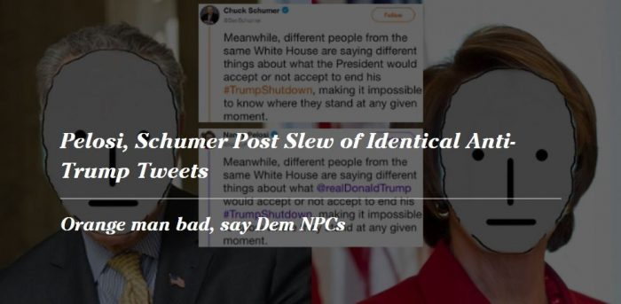 Nancy Pelosi And Chuck Schumer Posted Identical Tweets Bashing President Trump