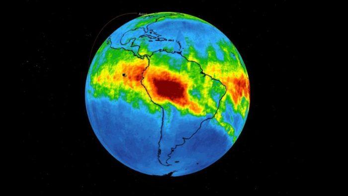 Satellite imagery of Amazon rainforest fire shows massive carbon monoxide pollution plume